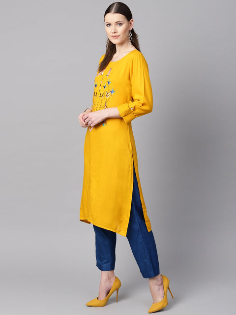 Mustard yellow round neck embroidered kurta with cuff and loop detailing sleeves.