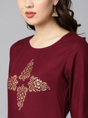 Burgundy color block printed half sleeve straight kurta