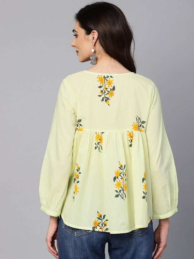 Lemon Yellow color floral printed tunic