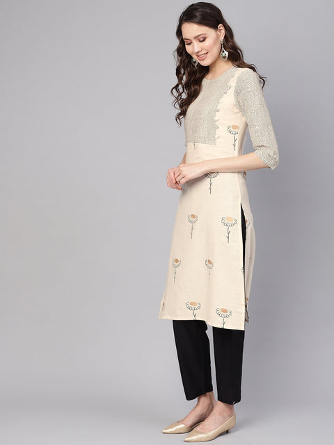 Women Off-White & Black Printed Kurta with Trousers