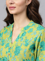 Fluorescent Green & Blue Floral Printed Kurta Set with White Palazzo with Print Detailing