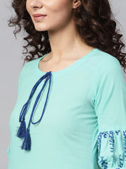 Light Blue Straight Kurta with Key Hole Neck & printed Detailed sleeves