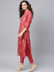 Pink Gold printed Straight Kurta Set & Pants Embellished with Gotta