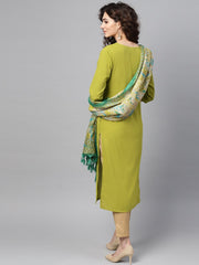 Solid Green Kurta Set with Beige Pant & Bhagalpuri printed Dupatta