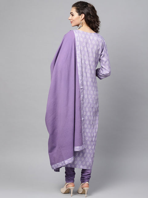 Purple & White Printed Staright Kurta Set with Solid Churidar & Mull Dupatta