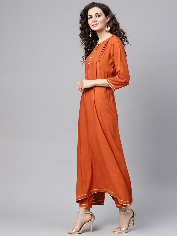 Rust Orange A-line Kurta Set With Pants & Bhagalpuri printed Dupatta
