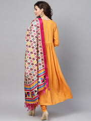 Solid Mustard Angrakha Kurta Set with Churidar & Multi Colored Dupatta