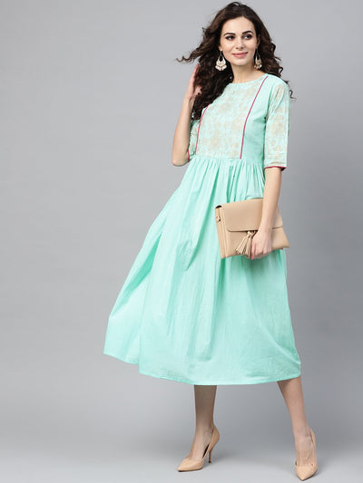 Pastel Green Dress With Front Gold Printed Yoke & 3/4 sleeves