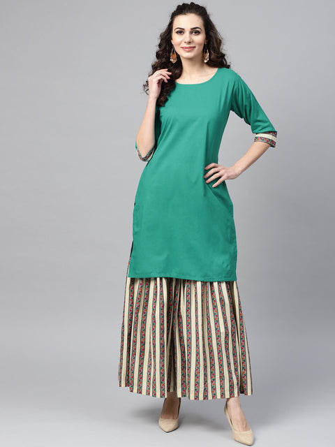 Solid Green Kurta Set with geometric Printed Sharara