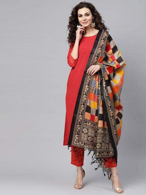 Solid Red Kurta Set with Gold Printed Pants with multi Colored Bhagalpuri Dupatta