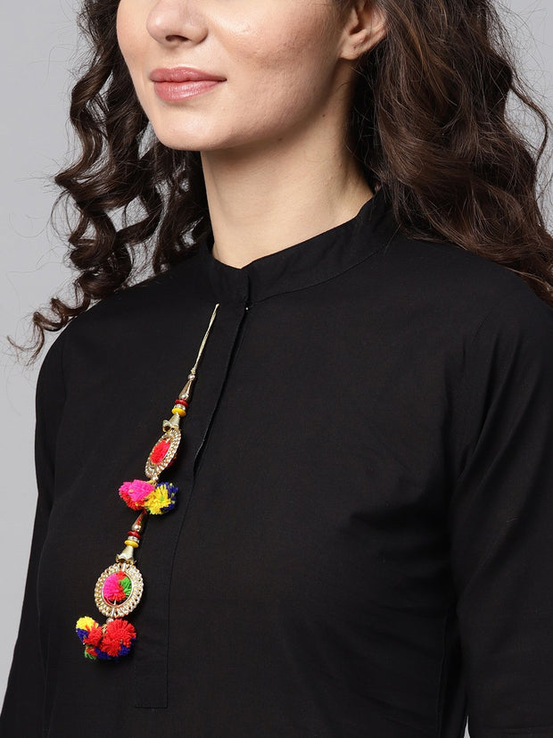 Solid Black Kurta Set with Pants & Bhagalpuri Multi Colored Dupatta