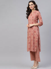 Beige printed 3/4th sleeve cotton kurta set with striped printed dupatta