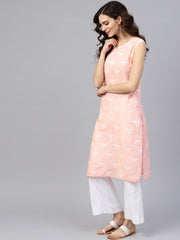 Peach sleeveless cotton printed kurta