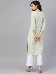 Green printed 3/4th sleeve cotton printed straight kurta