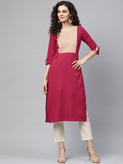 Red 3/4th sleeve yoke printed cotton straight kurta