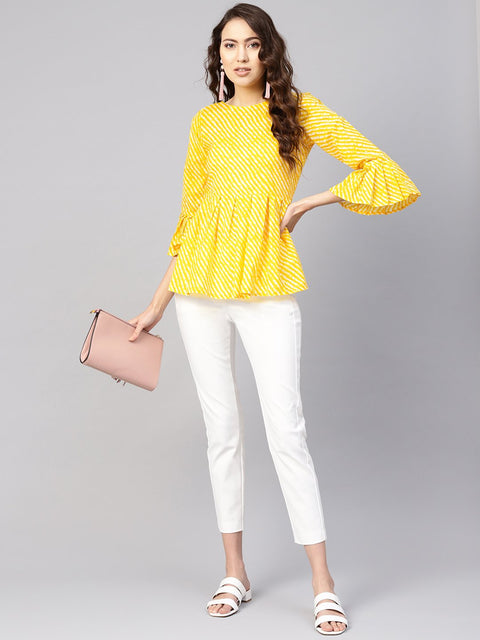 Women Yellow & Off-White Leheriya Print Tunic