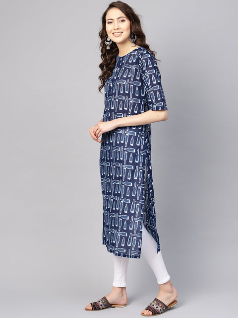 Women Blue & White Printed Straight Kurta
