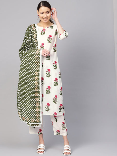 Women White & Green Printed Kurta with Trousers & Dupatta