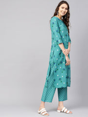 Women Green & Peach-Coloured Printed Kurta with Trousers & Dupatta