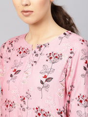 Women Pink & Burgundy Printed Kurta with Trousers