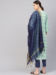 Women Sea Green & Navy Blue Printed Kurta with Trousers & Dupatta