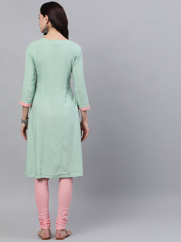 Women Pastel green and pink embroidered boat neck with v-slit 3/4th sleeves  kurta with pink churidar