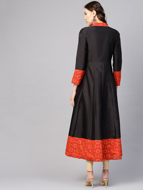 Women Black & Red Solid Midi Fit and Flare Dress