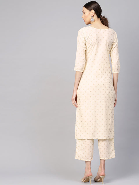 Women Cream-Coloured & Golden Printed Kurta with Trousers