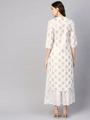 Women White & Golden Printed Kurta with Skirt