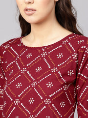 Women Maroon & White Bandhani Print Kurta with Skirt
