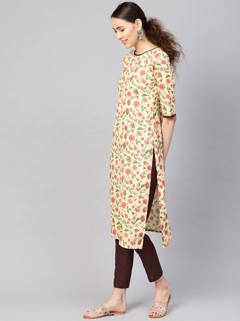 Women Cream-Coloured & Brown Printed Kurta with Trousers