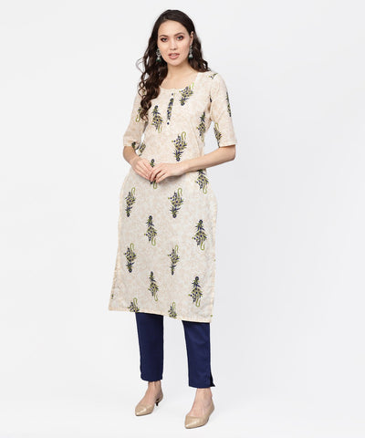 Women Off-White & Navy Blue Printed Kurta with Trousers