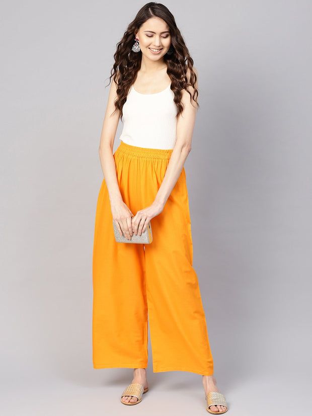 Women Orange Solid Wide Leg Palazzos