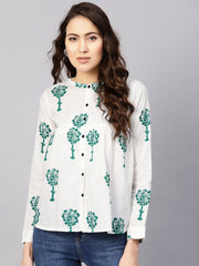 Women White & Green Printed Shirt Style Top