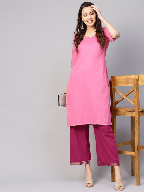Women Pink Solid Kurta with Palazzos