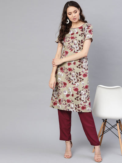 Women Grey & Burgundy Printed Kurta with Trousers