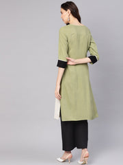 Women Green & Black Colourblocked Straight Kurta