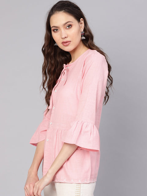Women Pink Solid A-Line Tunic