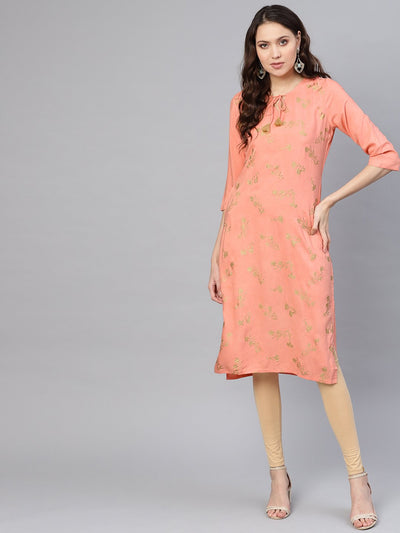 Women Peach-Coloured & Golden Khari Printed Straight Kurta