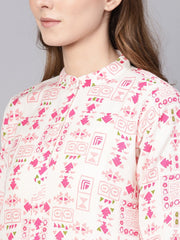 Women White & Pink Printed Straight Kurta