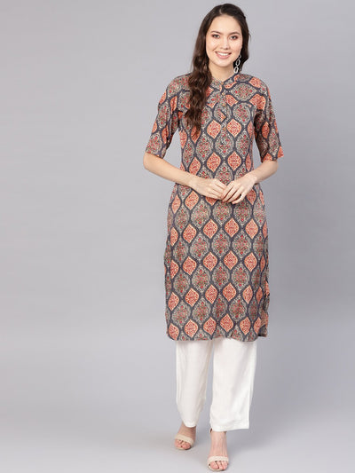 Women Grey & White Printed Kurta with Palazzos
