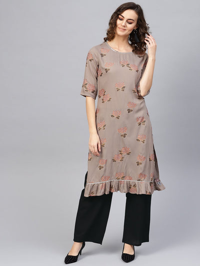 Women Taupe & Black Printed Kurta with Palazzos
