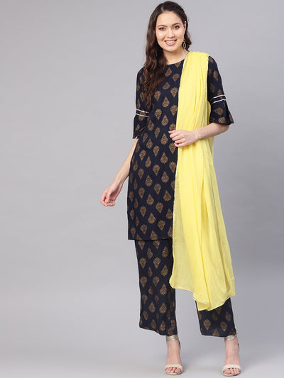 Women Navy Blue & Golden Printed Kurta with Palazzos & Dupatta