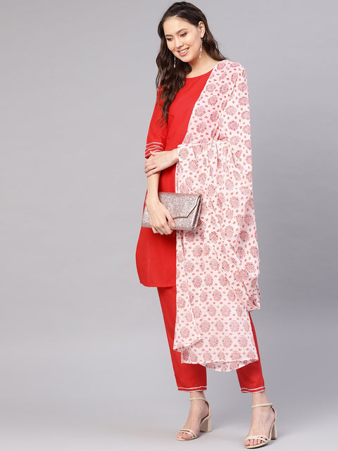 Women Red & Off-White Solid Kurta with Palazzos & Dupatta