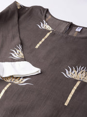 Women Taupe & Off-White Printed Kurta with Palazzos