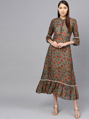 Women Olive Green & Orange Printed Maxi Dress