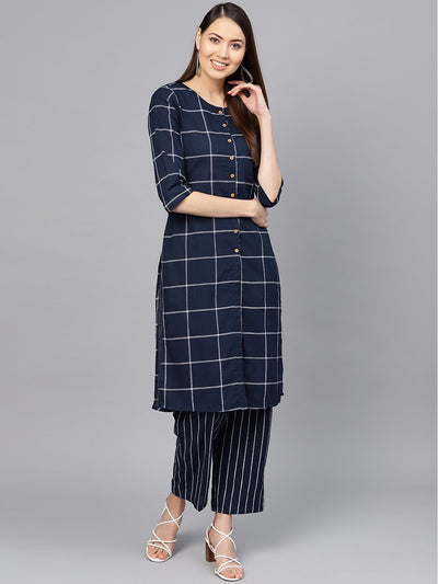 Women Navy Blue & White Checked Kurta with Palazzos
