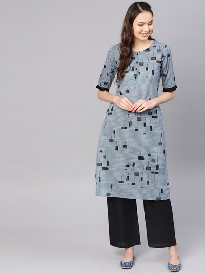 Women Grey & Black Printed Kurta with Palazzos