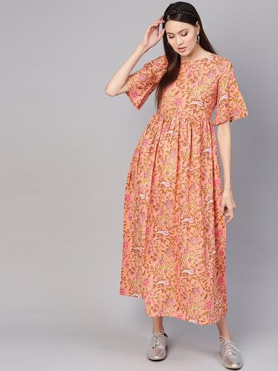 Women Peach-Coloured & Green Printed Maxi Dress