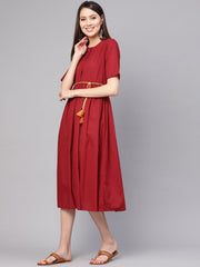 Women Red Solid Maxi Dress